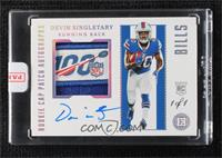 Rookie Cap Patch Autographs - Devin Singletary [Uncirculated] #/1