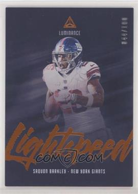 2019 Panini Luminance - Lightspeed - Orange #LS20 - Saquon Barkley /100