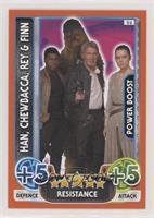 Han Solo, Chewbacca, Rey, Finn