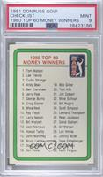 1980 Top 60 Money Winners (Checklist) [PSA9MINT]