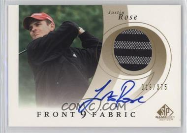 2002 SP Game Used Edition - Front 9 Fabric - Signatures [Autographed] #F9S-JR - Justin Rose /375