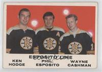 Ken Hodge, Phil Esposito, Wayne Cashman [Good to VG‑EX]