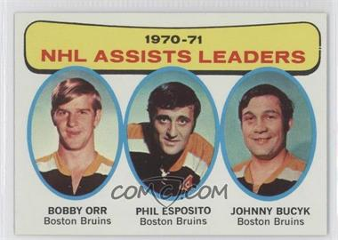 1971-72 Topps - [Base] #2 - NHL Assists Leaders (Bobby Orr, Phil Esposito, John Bucyk)