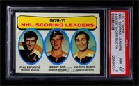 John Bucyk, Phil Esposito, Bobby Orr [PSA8NM‑MT]