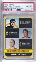 Phil Esposito, Vic Hadfield, Bobby Hull [PSA 8 NM‑MT]