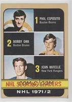 Phil Esposito, Jean Ratelle, Bobby Orr [Poor to Fair]