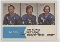 Gordie Howe, Mark Howe, Marty Howe [Good to VG‑EX]