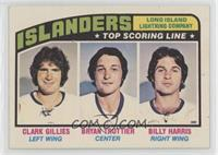 Clark Gillies, Bryan Trottier, Billy Harris
