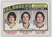 Clark Gillies, Bryan Trottier, Billy Harris