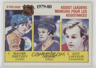 1980-81 O-Pee-Chee - [Base] #162 - NHL Assist Leaders (Wayne Gretzky, Marcel Dionne, Guy Lafleur)