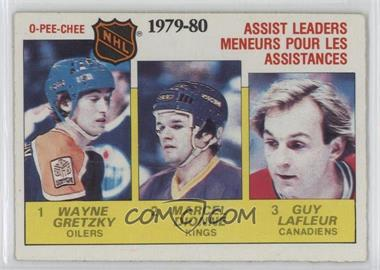 1980-81 O-Pee-Chee - [Base] #162 - NHL Assist Leaders (Wayne Gretzky, Marcel Dionne, Guy Lafleur)
