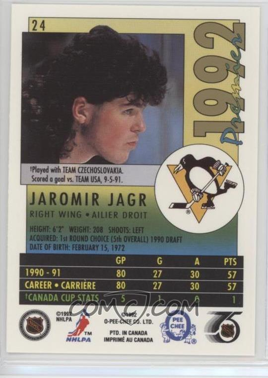 1991 92 O Pee Chee Premier Base 24 Jaromir Jagr