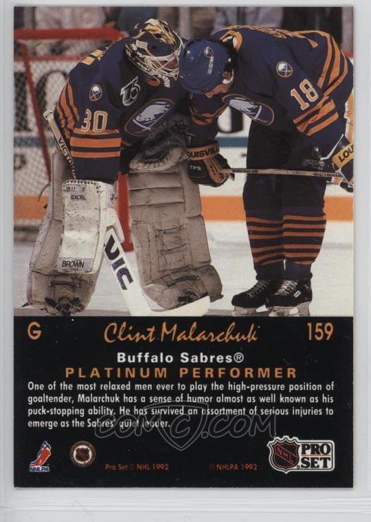 1991 92 Pro Set Platinum Base 159 Clint Malarchuk