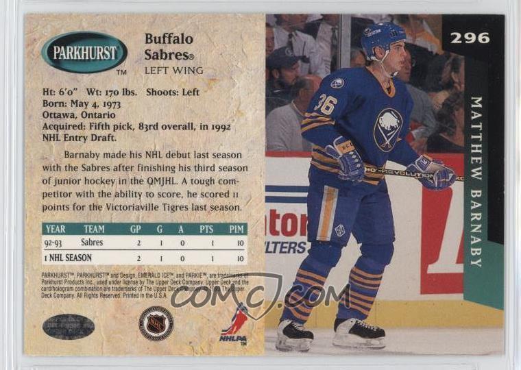 1993-94 Parkhurst -  Base   296 - Matthew Barnaby - COMC Card ... e7683c39a