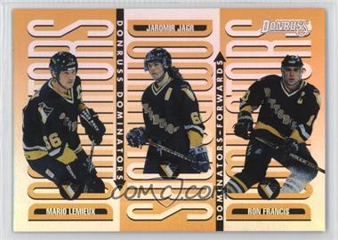 1996-97 Donruss - Dominators #4 - Ron Francis, Jaromir Jagr, Mario Lemieux /5000