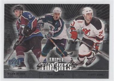 2000-01 Upper Deck - Triple Thr3ats #TT1 - Paul Kariya, Scott Gomez, Milan Hejduk