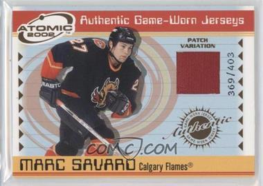 2001-02 Pacific Atomic - Game-Worn Jerseys - Patch #6 - Marc Savard /403