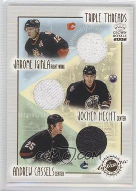 2001-02 Pacific Crown Royale - Triple Threads #9 - Jarome Iginla, Jochen Hecht, Andrew Cassels