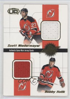 2001-02 Pacific Heads Up - Game-Worn Jersey Quads #3 - Scott Niedermayer, Bobby Holik, P.J. Axelsson, Don Sweeney