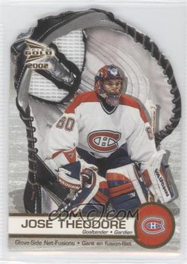 2001-02 Pacific Prism Gold McDonald's - Glove Side Net-Fusions #3 - Jose Theodore