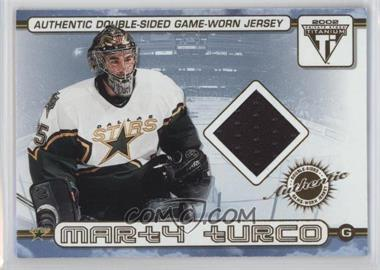 2001-02 Pacific Private Stock Titanium - Authentic Double-Sided Game-Worn Jersey #53 - Marty Turco, Ed Belfour