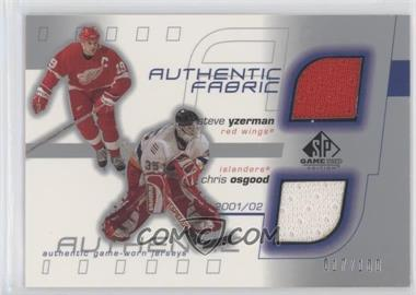 2001-02 SP Game Used Edition - Authentic Fabric #DF-TD - Steve Yzerman, Chris Osgood /100