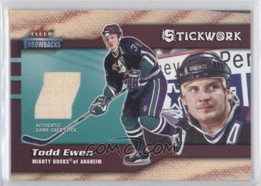 2002-03 Fleer Throwbacks - Stickwork #TOEW - Todd Ewen