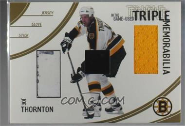 2002-03 In the Game Be A Player In The Game-Used - Triple Memorabilia - Gold #TM-1 - Joe Thornton [Noted]