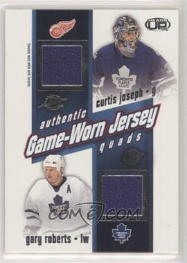 2002-03 Pacific Heads Up - Game-Worn Jersey Quads #26 - Curtis Joseph, Gary Roberts, Alexander Mogilny, Darcy Tucker