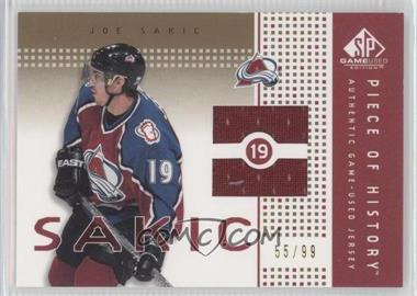 2002-03 SP Game Used - Piece of History - Gold #PH-SC - Joe Sakic /99