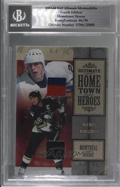 2003-04 In the Game Ultimate Memorabilia 4th Edition - Hometown Heroes #MBML - Mike Bossy, Mario Lemieux /50 [BGS Encased]