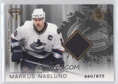 2003-04 Pacific Private Stock Titanium - [Base] #189 - Authentic Game-Worn Jersey - Markus Naslund /875