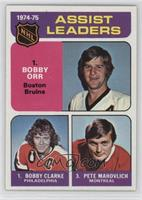 Assists Leaders (Bobby Orr, Bobby Clarke, Pete Mahovlich) (1975-76 Topps)