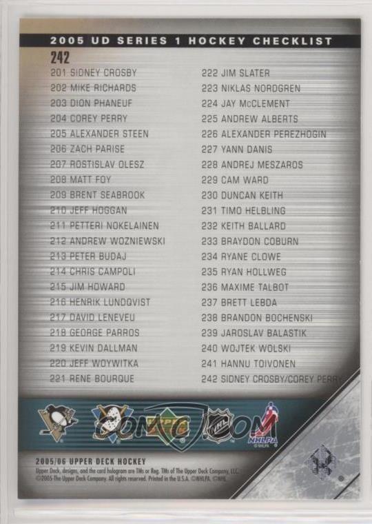 2005-06 Upper Deck - [Base] #242 - Checklist (Corey Perry, Sidney