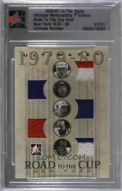 2006-07 In the Game Ultimate Memorabilia 7th Edition - Road to the Cup - Gold #NY80 - New York 79-80 - Mike Bossy, Denis Potvin, Bryan Trottier, Billy Smith, Bob Nystrom /1 [Uncirculated]
