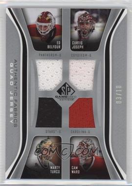 2006-07 SP Game Used Edition - Authentic Fabrics Quads #AF4-BJTW - Ed Belfour, Cam Ward, Curtis Joseph, Marty Turco /10