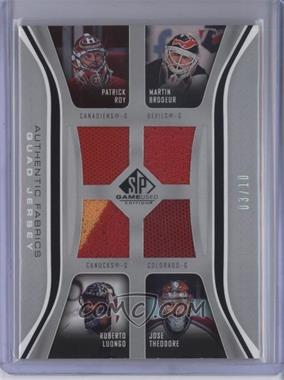 2006-07 SP Game Used Edition - Authentic Fabrics Quads #AF4-RBTL - Jose Theodore, Martin Brodeur, Patrick Roy, Roberto Luongo /10
