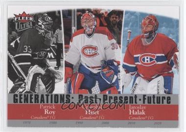 2007-08 Fleer Ultra - Generations: Past Present Future #G19 - Patrick Roy, Charlie Huddy, Jaroslav Halak, Cristobal Huet