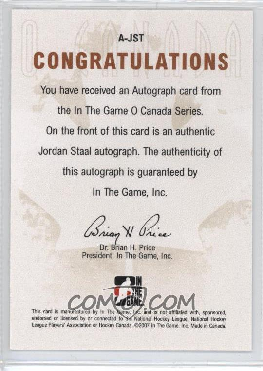 2007-08 In the Game O Canada - Autographs - [Autographed] #A