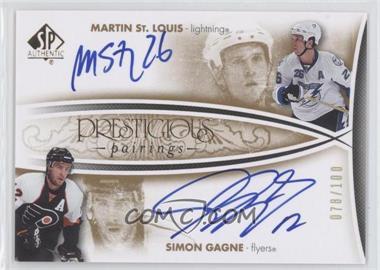 2007-08 SP Authentic - Prestigious Pairings - [Autographed] #PP-GS - Simon Gagne, Martin St. Louis /100