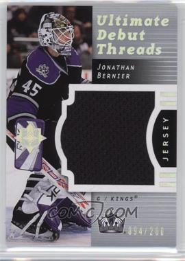 2007-08 Ultimate Collection - Ultimate Debut Threads #DT-JB - Jonathan Bernier /200