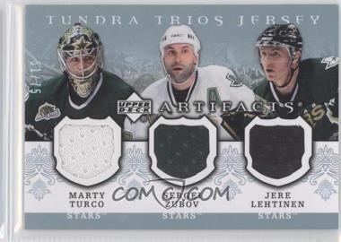 2007-08 Upper Deck Artifacts - Tundra Trios Jerseys - Blue #T3-ZLT - Marty Turco, Sergei Zubov, Jere Lehtinen /75
