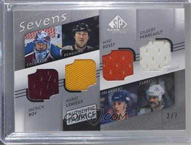 2008-09 SP Game Used Edition - Authentic Fabrics Sevens #AF7-QBEC - Patrick Roy, Mario Lemieux, Mike Bossy, Gilbert Perreault, Martin Brodeur, Roberto Luongo, Marc-Andre Fleury /7