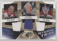 Bryan Trottier, Mike Bossy, Billy Smith [EX to NM] #/99