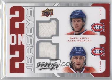 2008-09 Upper Deck MVP - 2 on 2 Jerseys #J2-KKSJ - Saku Koivu, Mats Sundin, Curtis Joseph, Alex Kovalev [Noted]