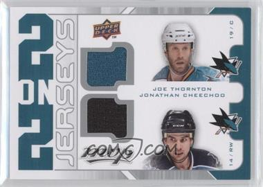 2008-09 Upper Deck MVP - 2 on 2 Jerseys #J2-MTNC - Patrick Marleau, Evgeni Nabokov, Joe Thornton, Jonathan Cheechoo
