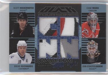 2008-09 Upper Deck UD Black - Foursomes - Blue Patches #UBJ4-RNGW - Jean-Sebastien Giguere, Cam Ward, Brad Richards, Scott Niedermayer /1