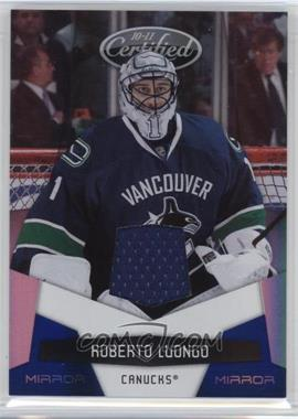 2010-11 Certified - [Base] - Mirror Blue Materials [Memorabilia] #142 - Roberto Luongo /100