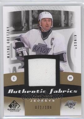 2010-11 SP Game Used Edition - Authentic Fabrics - Gold #AF-WG - Wayne Gretzky /100