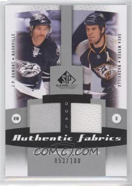 2010-11 SP Game Used Edition - Dual Authentic Fabrics #AF2-DW - J.P. Dumont, Shea Weber /100